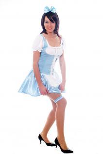 Damenkostüm: Hellblaues Dirndl Zofe Maid Zimmermädchen Dienstmagd Haarreif L009 - Vorschau 5