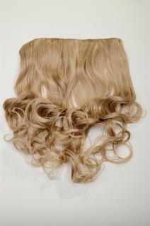 Clip-In Extension Haarverlängerung breit hitzefest 5 Clip lockig Blond Mischung