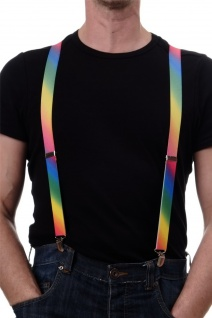 Halloween Karneval CSD Hosenträger Suspenders Rainbow regenbogenfarben bunt W059