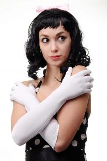 Karneval Fasching Handschuhe Damenhandschuhe lang weiß Oper Ball DWS-019-WHITE - Vorschau 3