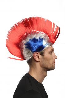 Perücke Fan Iro Irokese Punk Tricolore Frankreich France Blau-Weiß-Rot XR-012 - Vorschau 2