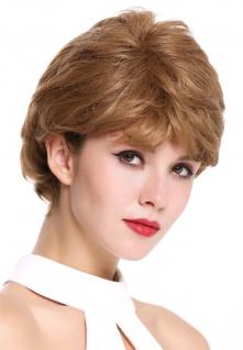 Perücke Damenperücke kurz gewellt wellig dicht Scheitel Dunkelblond Blond Mix