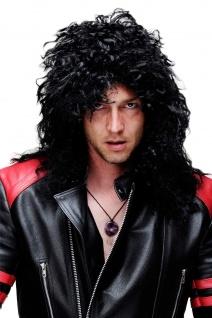 Rocker Perücke Schwarz Männer Frauen Unisex Locken zottelig lang Hardrock BW563