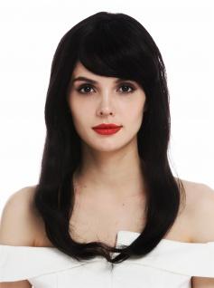 Perücke Damenperücke Echthaar schwarz Lace-Front Monofilament lang glatt wig