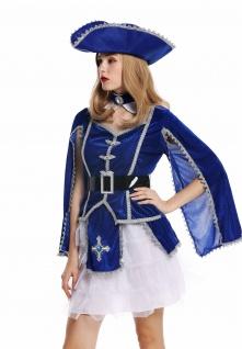 Kostüm Damen Frauen Karneval Barock Soldat Musketier Edelfrau Hut blau M W-0284 - Vorschau 5