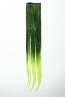 Breite Extension 2 Clips Strähne Haarverlängerung glatt Ombre 45cm Grün