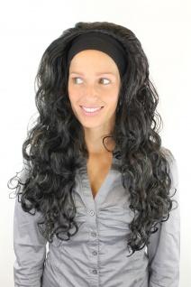 Perücke Damen Locken Lockenpracht lang Volumen Stirnband Latina schwarz 80er