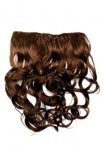 Clip-In Extension Haarverlängerung breit hitzefest 5 Clip lockig hellbraun braun