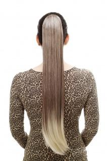 Haarteil/Zopf sehr lang glatt Butterfly-Klammer 70 cm Braun-Blond-Mix T113-6T613