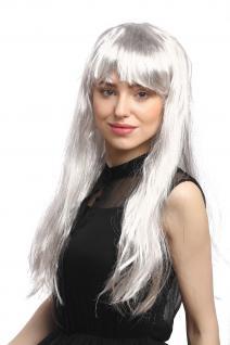 Perücke Damen Fasching Karneval Grau Silber Strähnen lang glatt Pony 65 cm