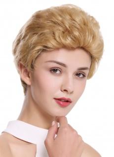 Perücke Damen Herren Echthaar kurz wellig modisch Tolle Blond B-HH-12 Perrücke
