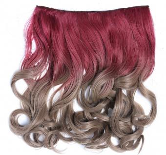 Clip-in Extension Haarverlängerung breit gelockt Locken Ombre Rot Aschblond