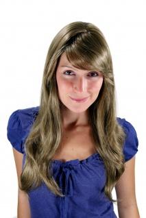 Damen Perücke dunkelblond hellbraun wellig lang Scheitel Haarersatz 60cm 9213-14