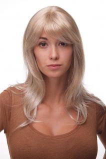 Damenperücke lang Perücke Blond gesträhnt Pony Scheitel frisierbar gestuft 4038