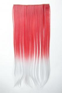 Extension Haarverlängerung Clip-In 5 Clip glatt zweifarbig Ombre Rot Weiß 60cm