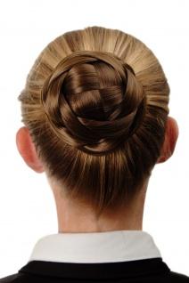Dutt Haarteil aufwendig geflochten Haarknoten Brautschmuck Gold-Braun Q399D-12