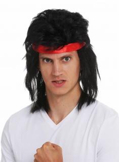 Perücke Stirnband Karneval Herren lang Vokuhila 80s Action-Star Kung-Fu schwarz