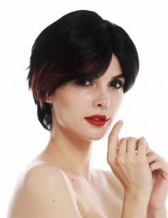 Perücke Damenperücke kurz glatt gescheitelt schwarz rote Strähne Perrücke