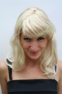Perücke blond halblang mit Pony Motto Party Wig Faschingsperücke Perrücke PO227