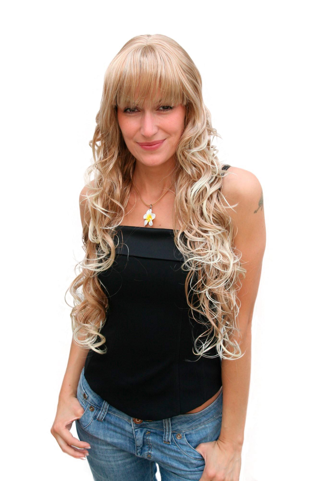 Damenperücke in blond gelockte sehr lange Haare Pony voluminös 70