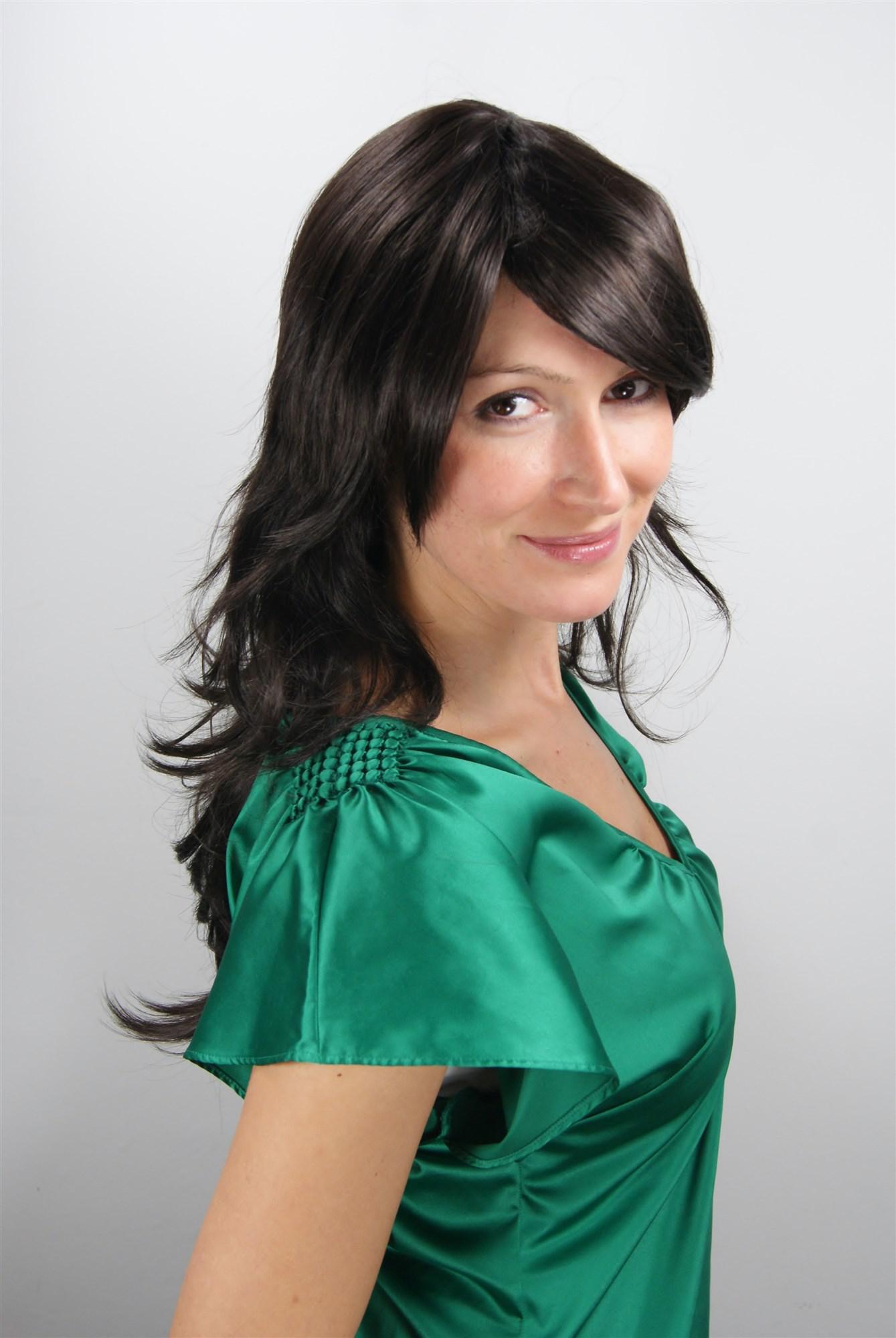 Damen Wig Schokoladenbraun Perücke Wellen gestuft Frisur