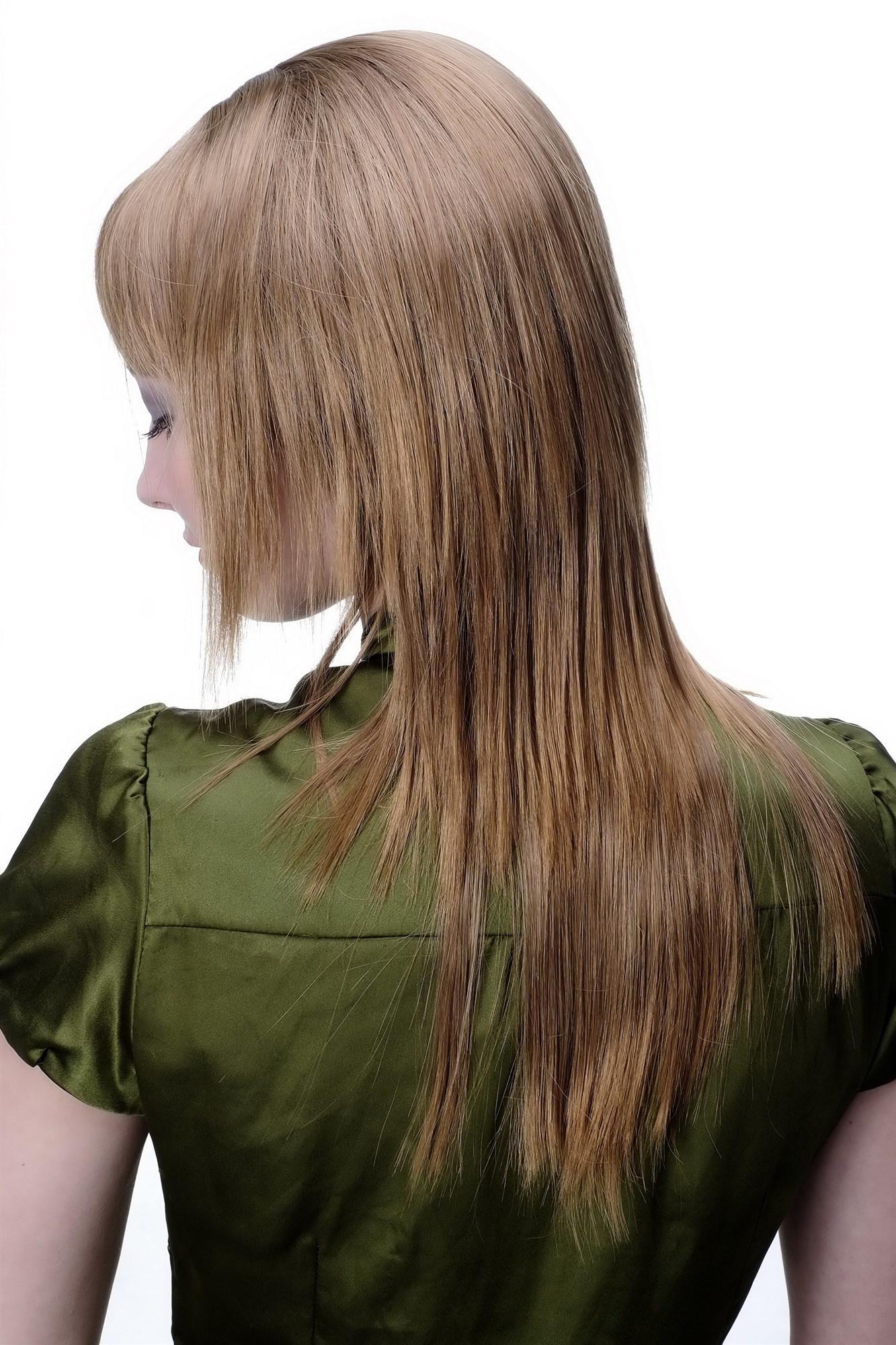 Perücke DUNKELBLOND + RÖTLICH sexy Pony Frisur glatt stark ...