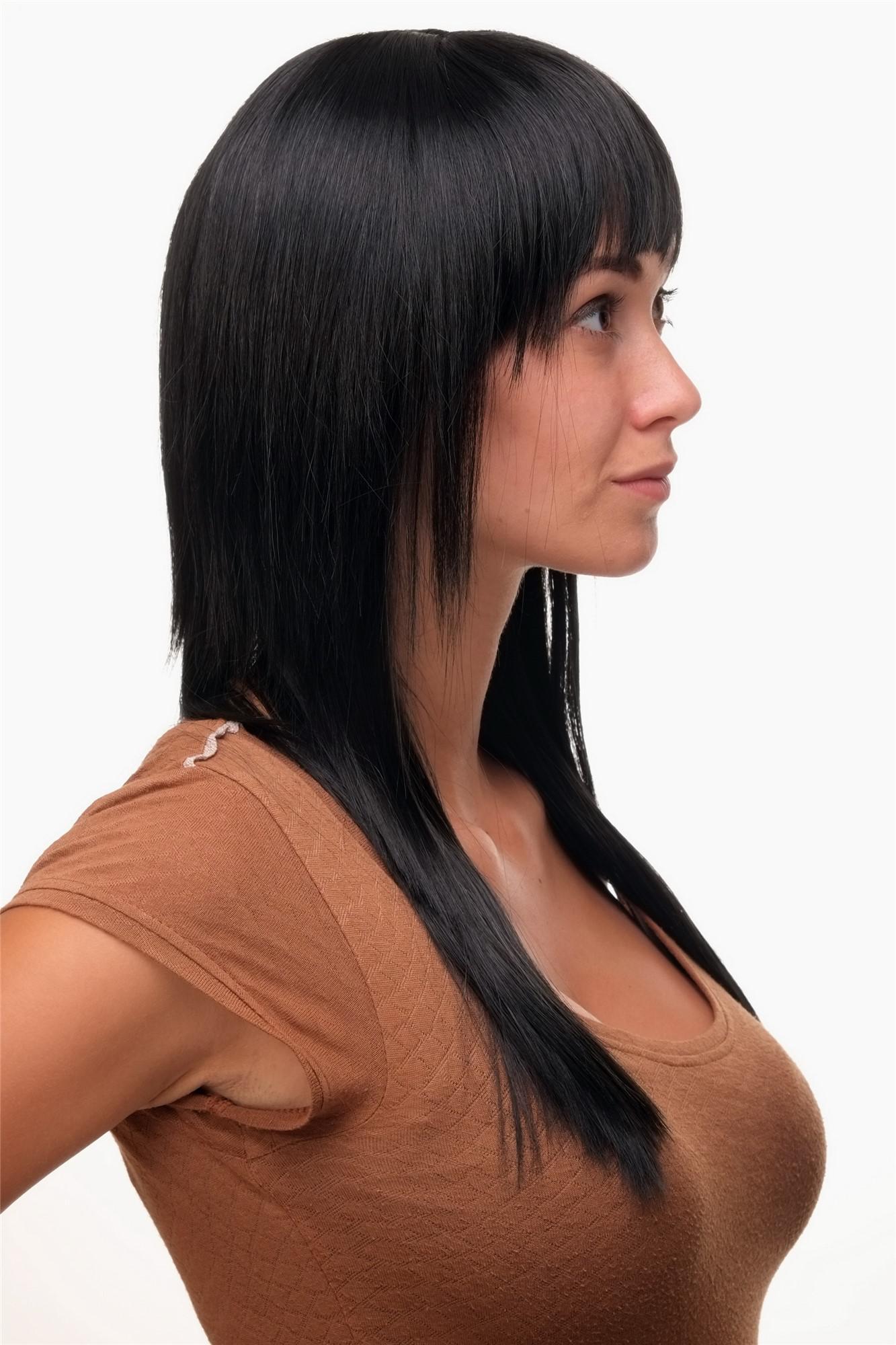 Schicke Gestufte Perücke Sexy Schwarz Lang Glatte Haare Frisur 9214
