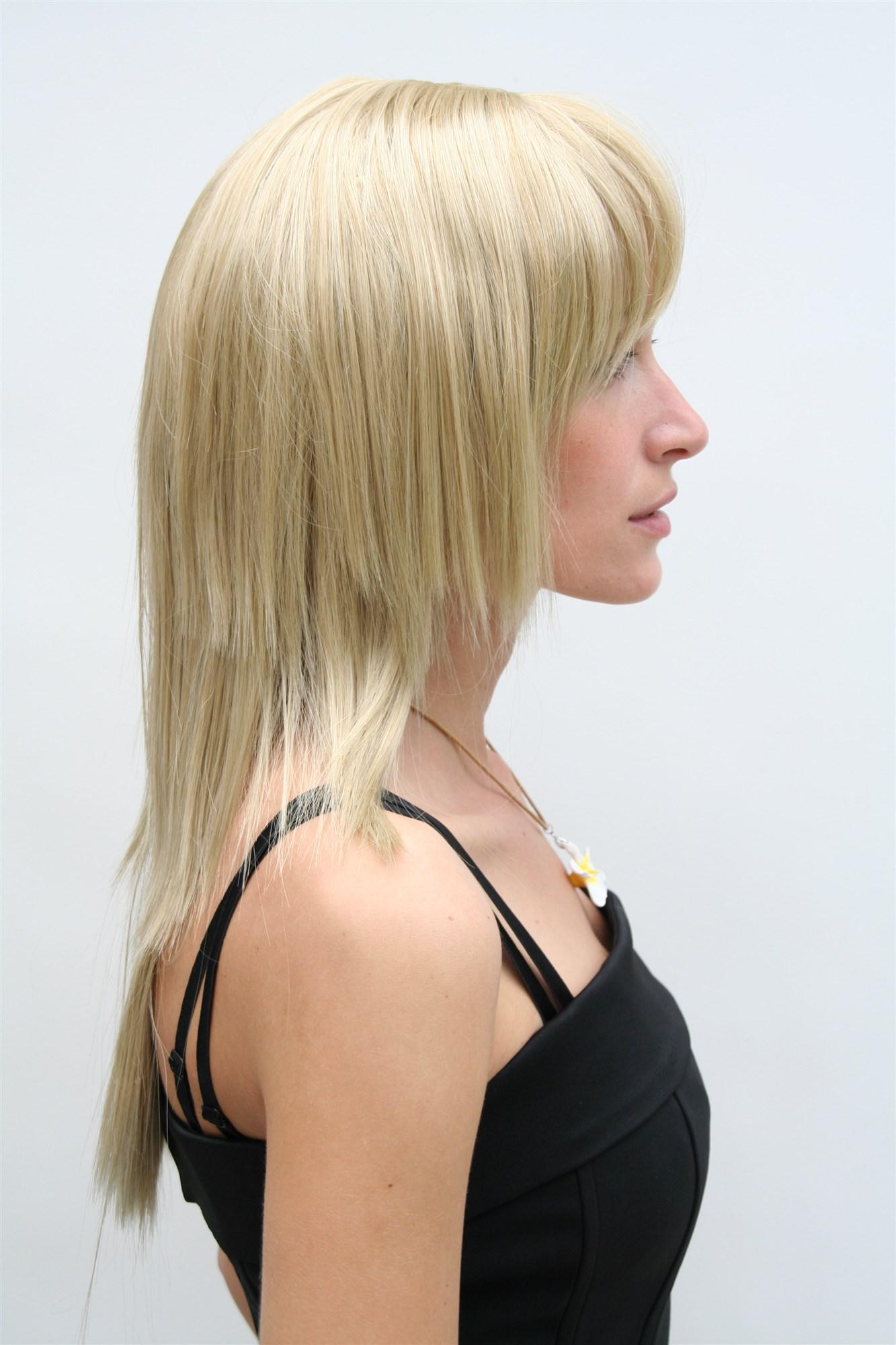 damenperücke, blond, stark gestuft, pony, lang, haarersatz, ca. 55