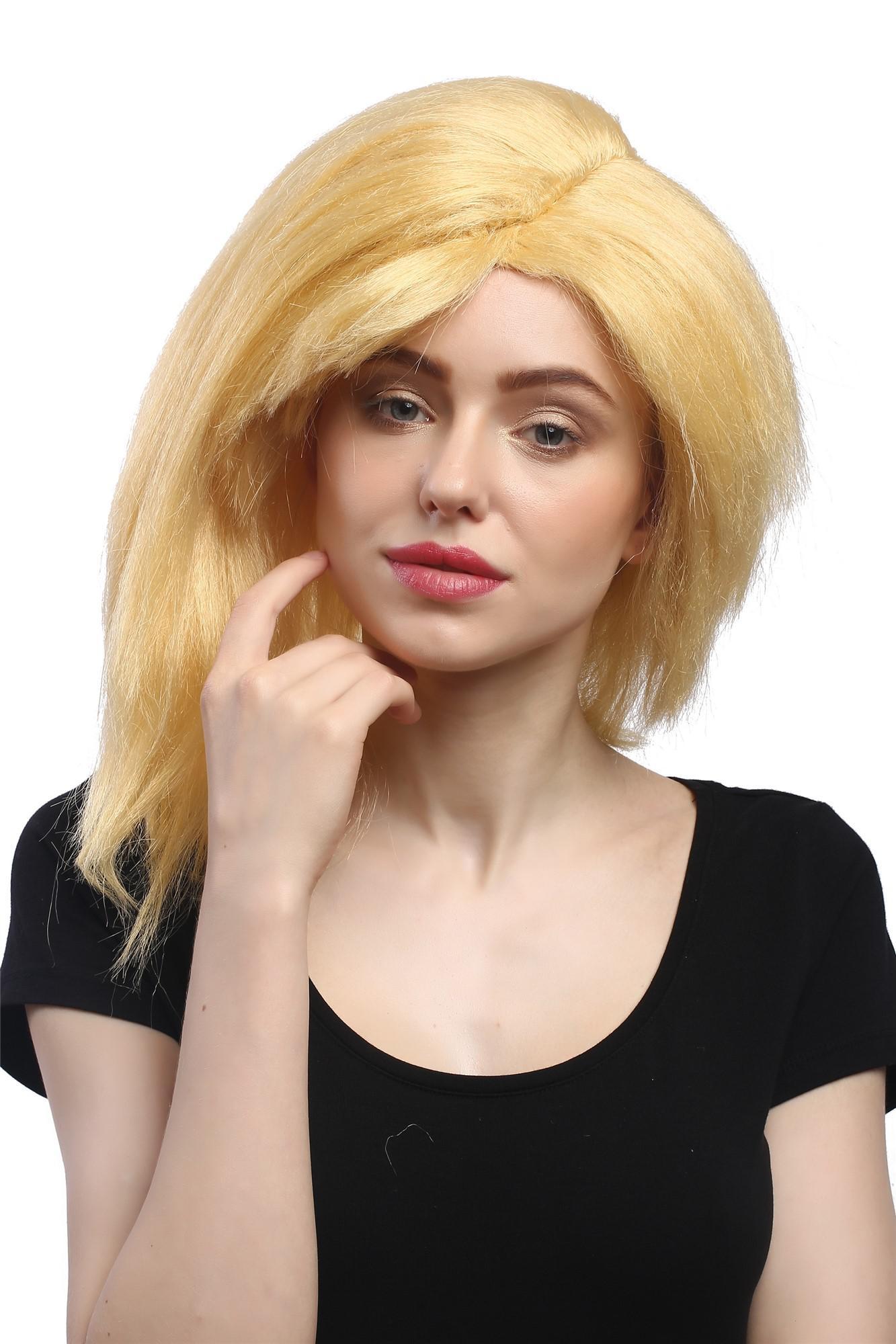 Perucke Damen Karneval Halloween Blond Schrag Scheitel Punk Pop 80er