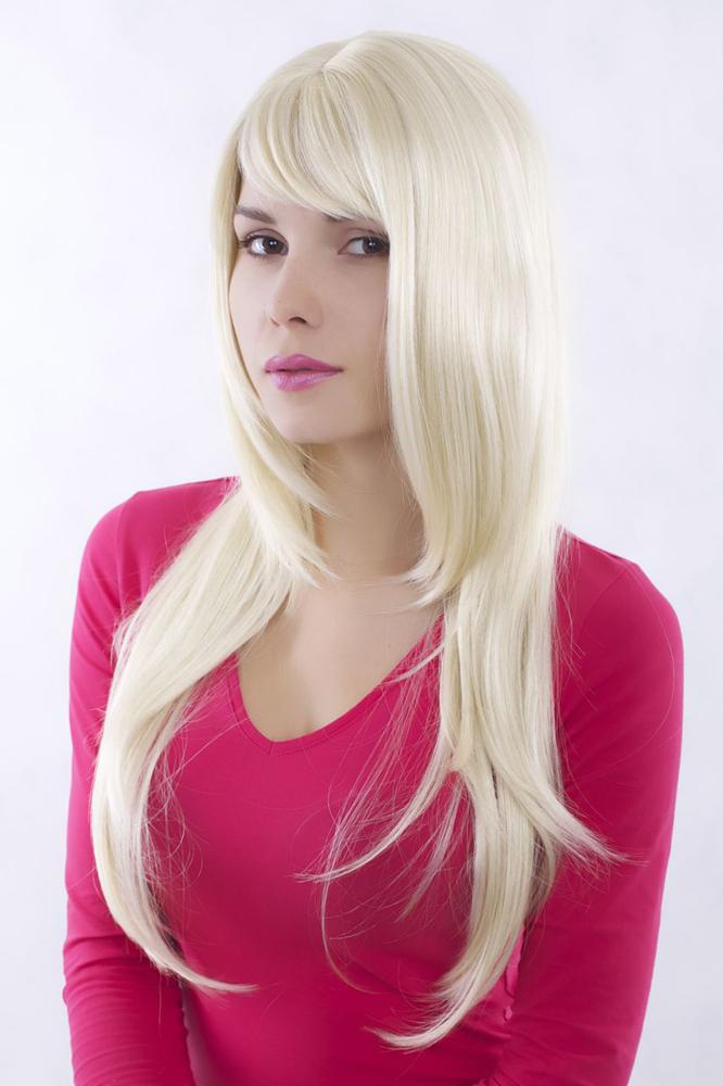 Perücke WIG lange glatte Haare helles blond Länge: ca. 70