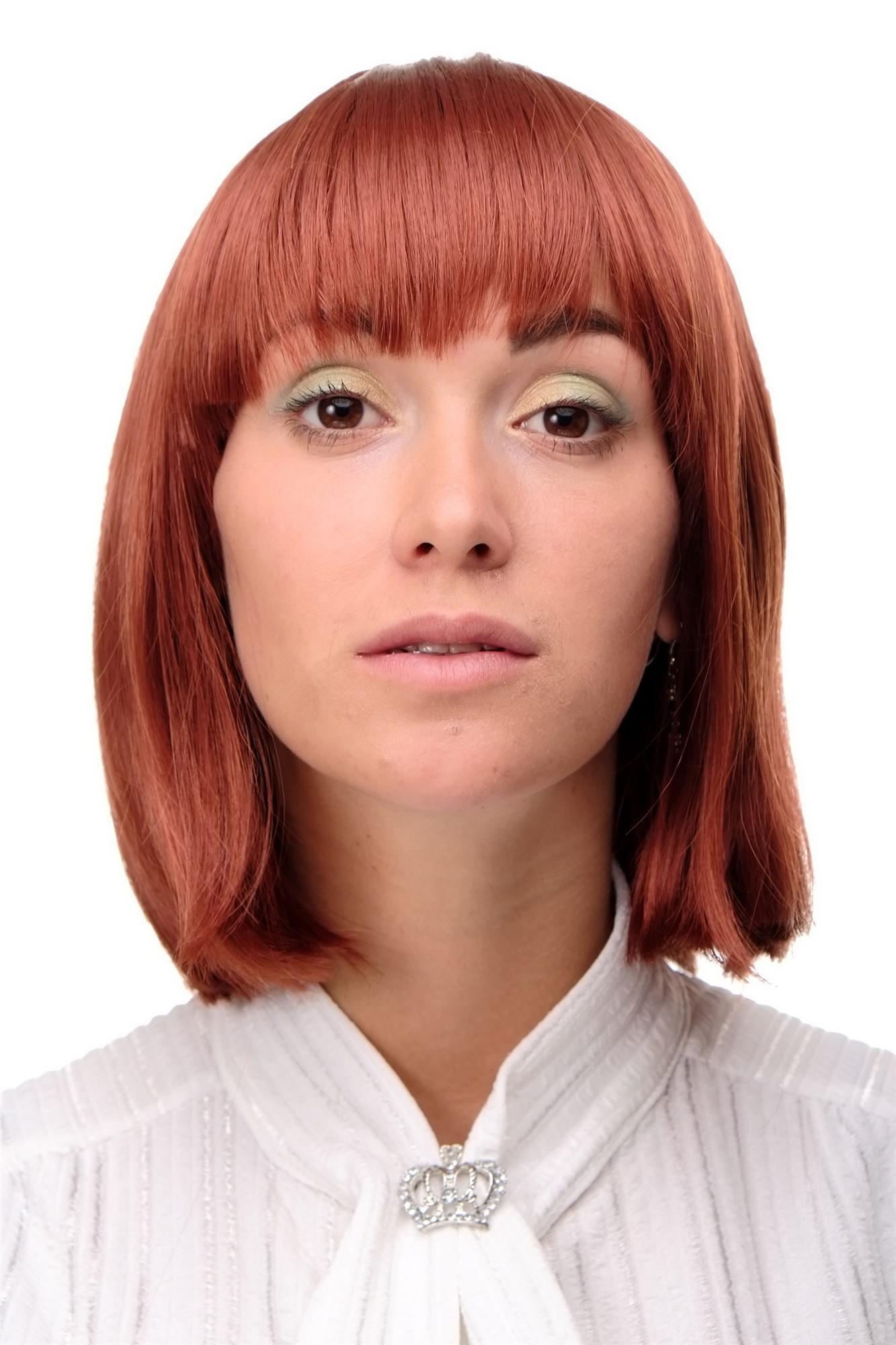 Sexy Perücke Page Längerer Bob Schnitt Rot Kupferrot Glattes Haar