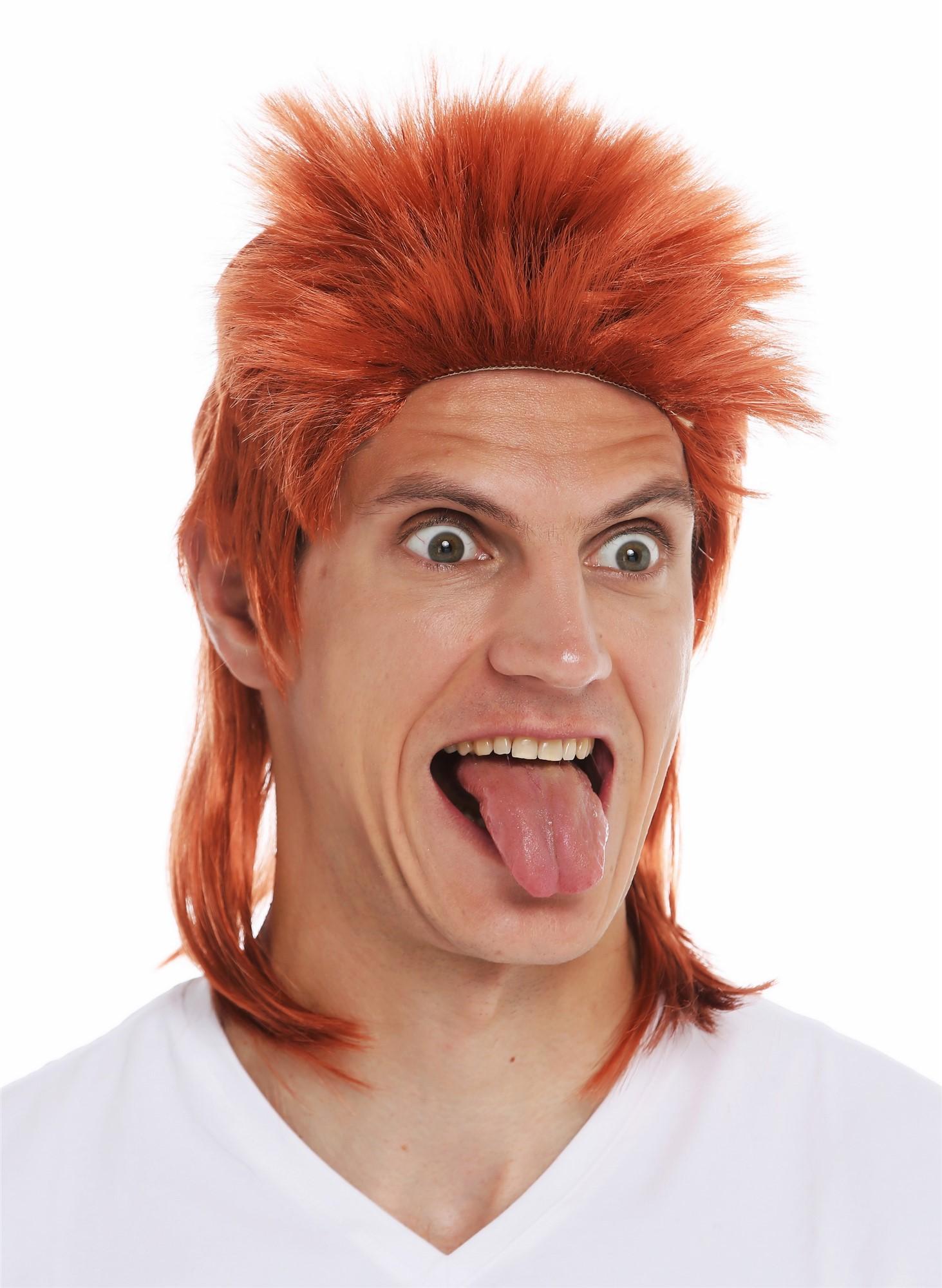 Rotes Vokuhila Stirnband mit schwarzer Perücke Vokuhilaperücke 80er Prollperücke