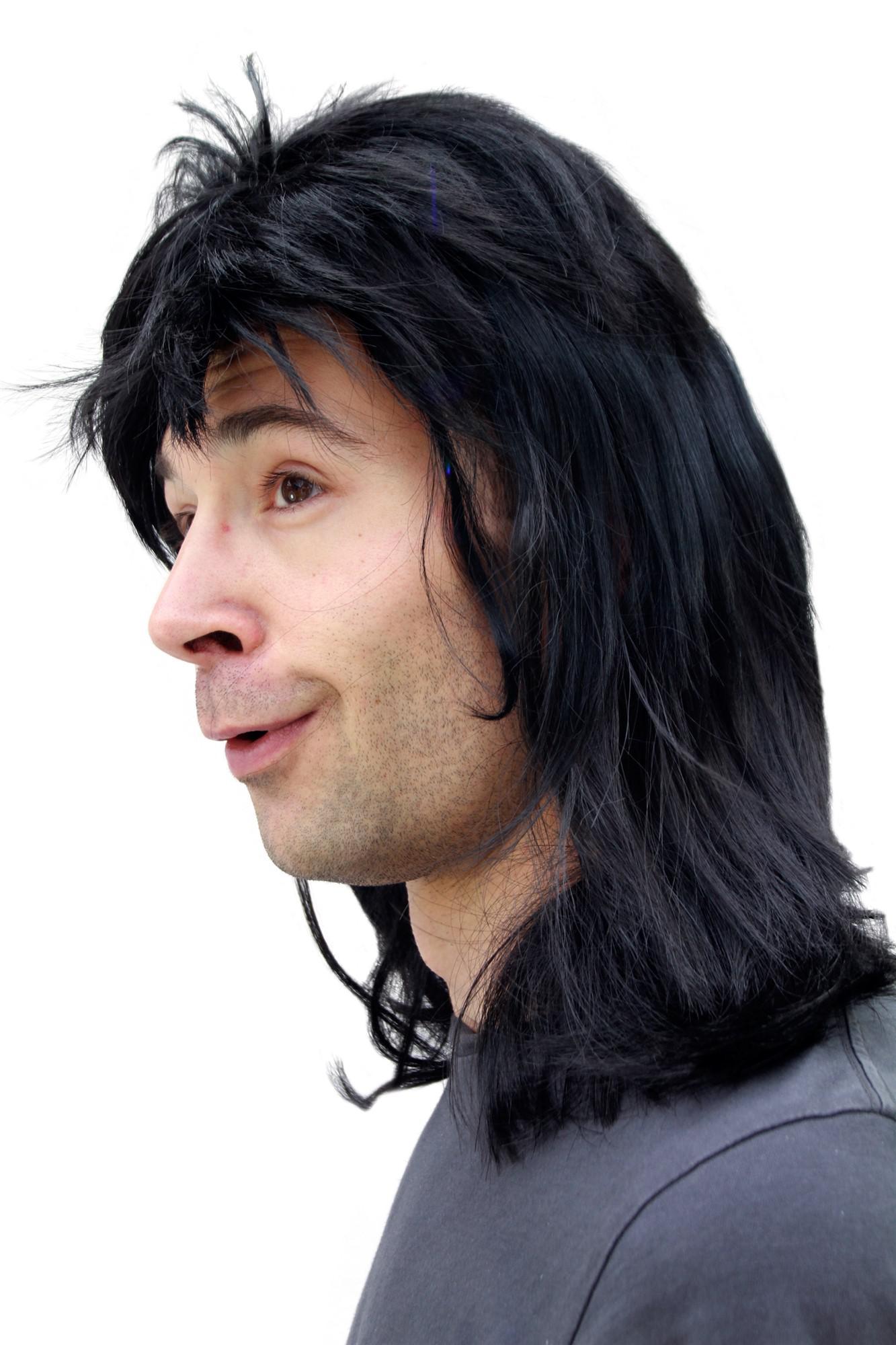 20781-P103 Per/ücke Fasching Proll Assi Schwarz Vokuhila NEU Wig WIG ME UP /®