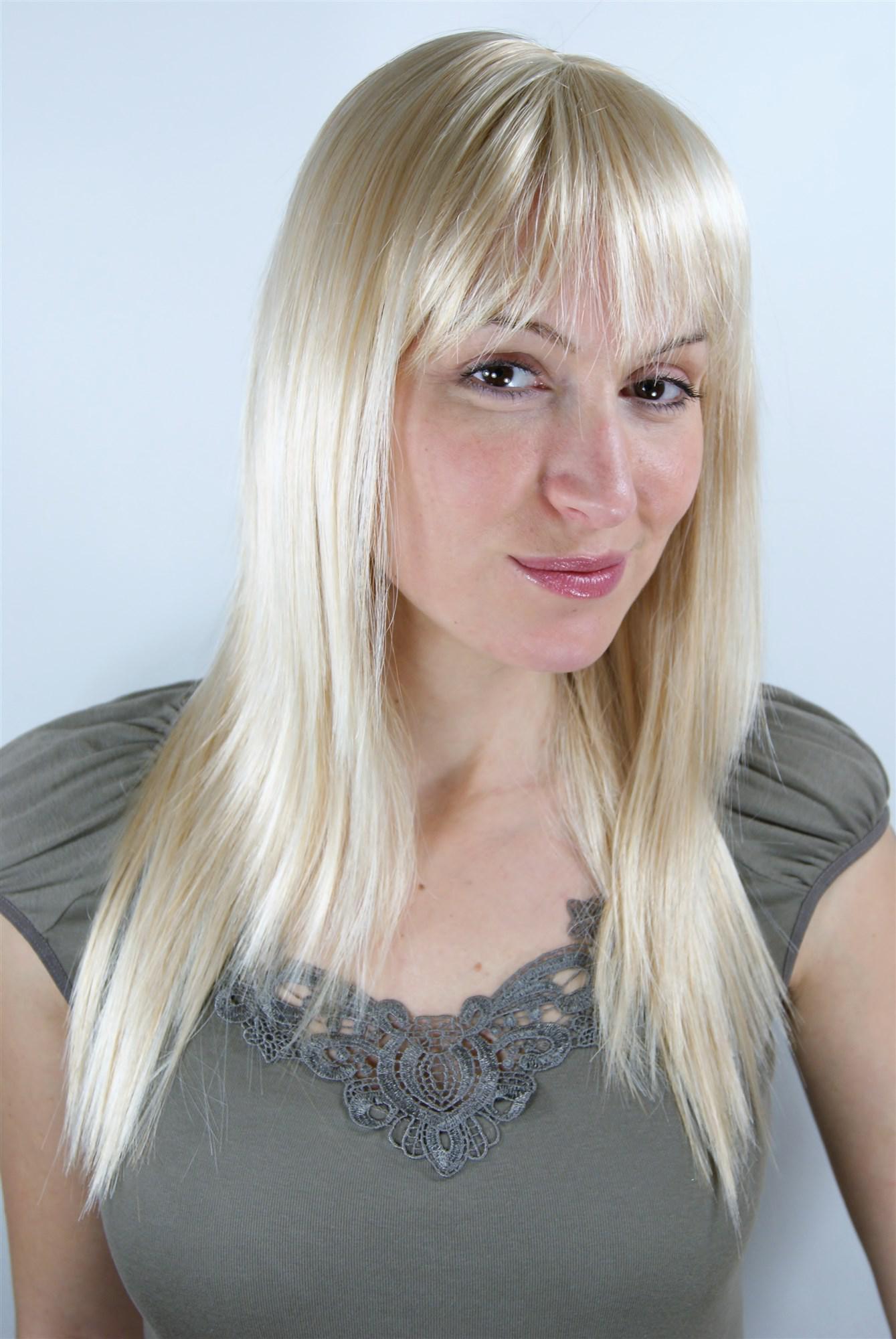 super sexy damen per cke blond lichtblond mit pony gestufte haare la032 611 50cm kaufen bei vk. Black Bedroom Furniture Sets. Home Design Ideas