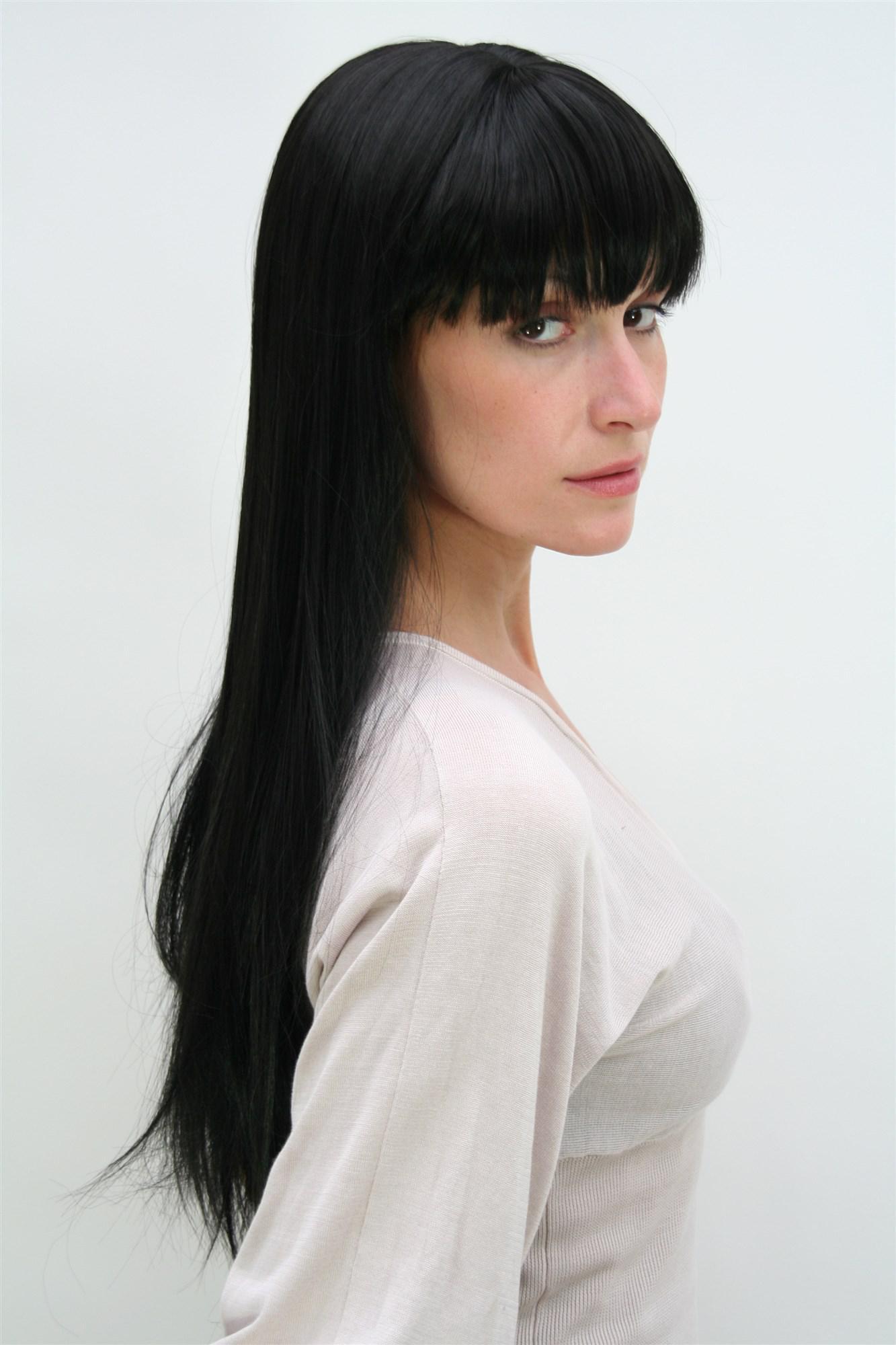 Schwarze lange haare perucke
