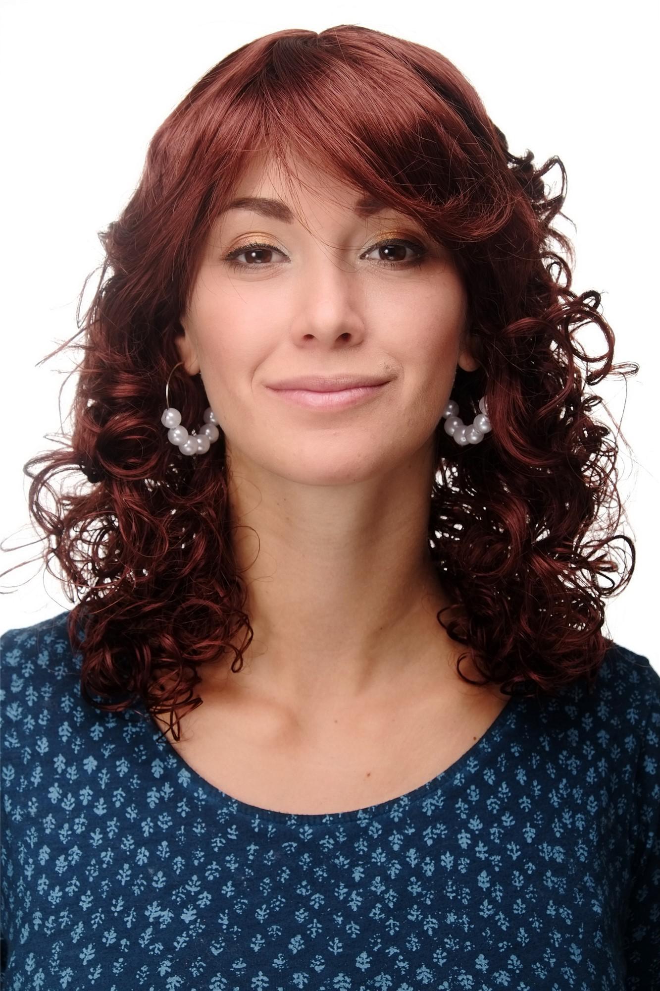 Perücke Neue Romantik Braune Haare Rostbraun Locken Gelockte Spitzen