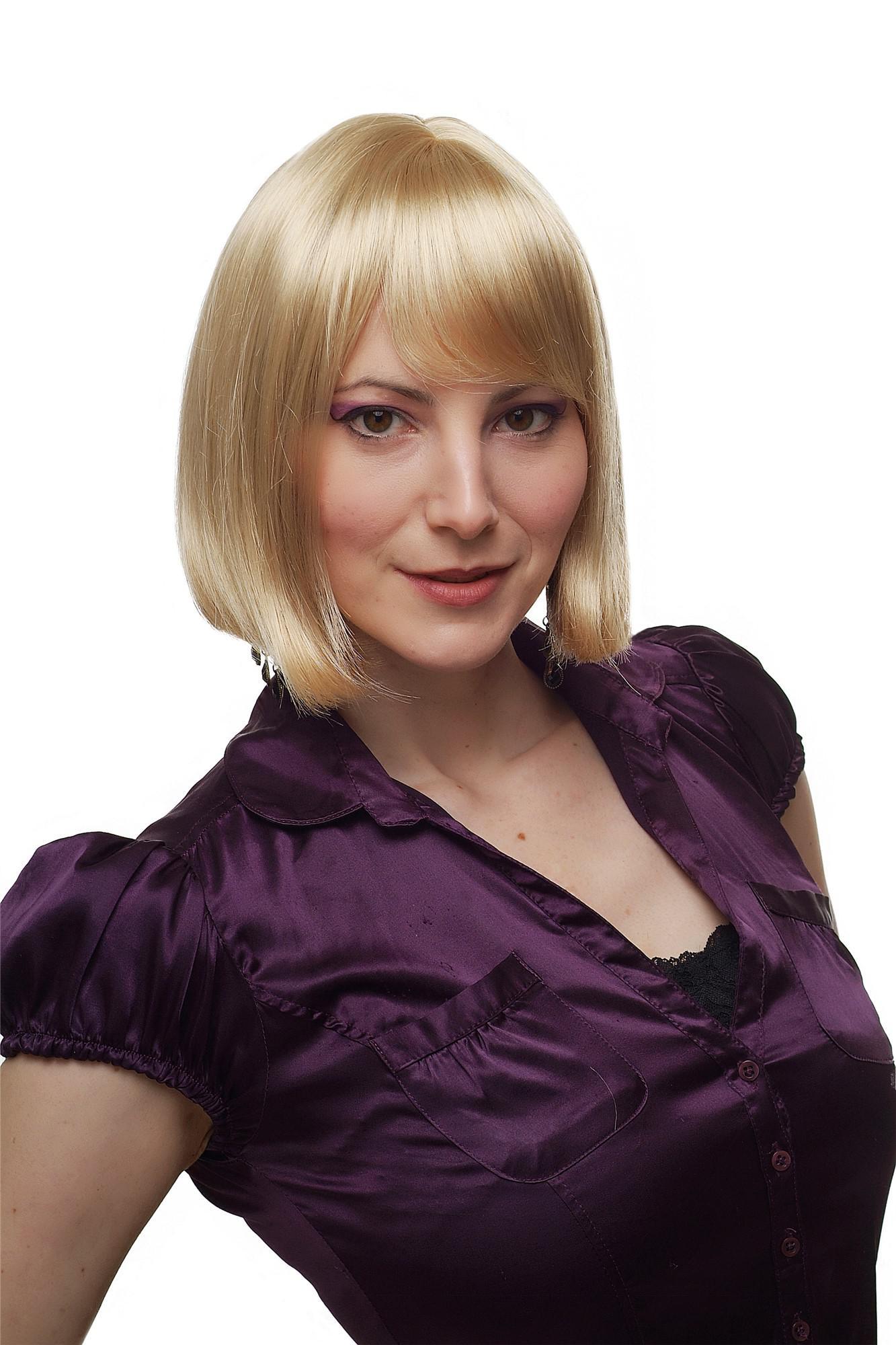 Damen Perucke Bob Goldblond Frisur Seitenscheitel Wig Haarersatz 25 Cm 2212 202