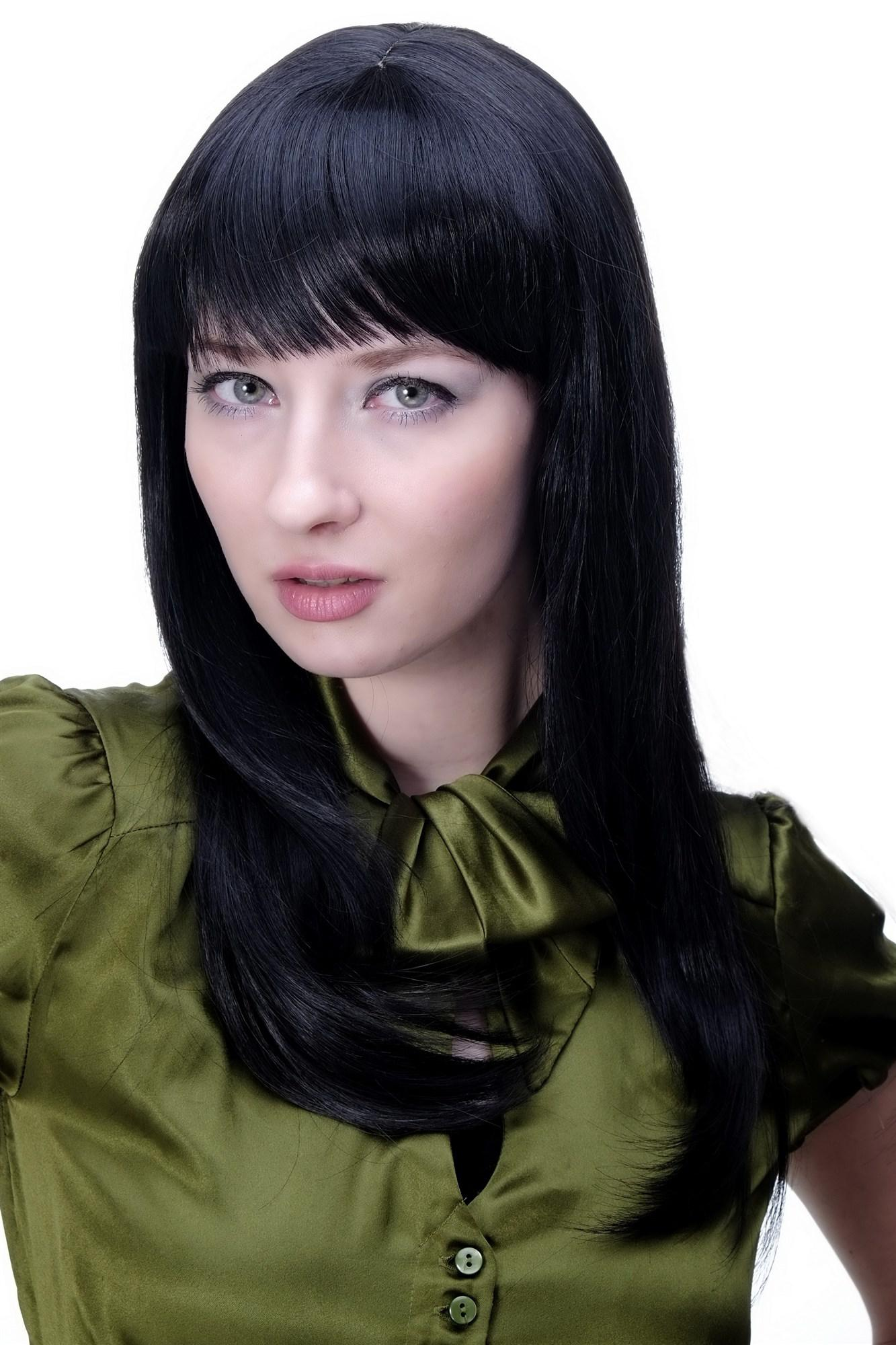 Damenperücke Schwarz Gothic Niedlich Frech Pony Glattes Haar Lang