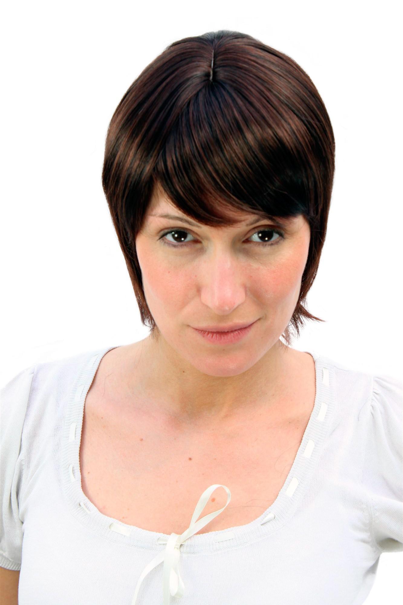 Damen Perucke Wig Bob Modern Braun Kurz Leicht Gestrahnt