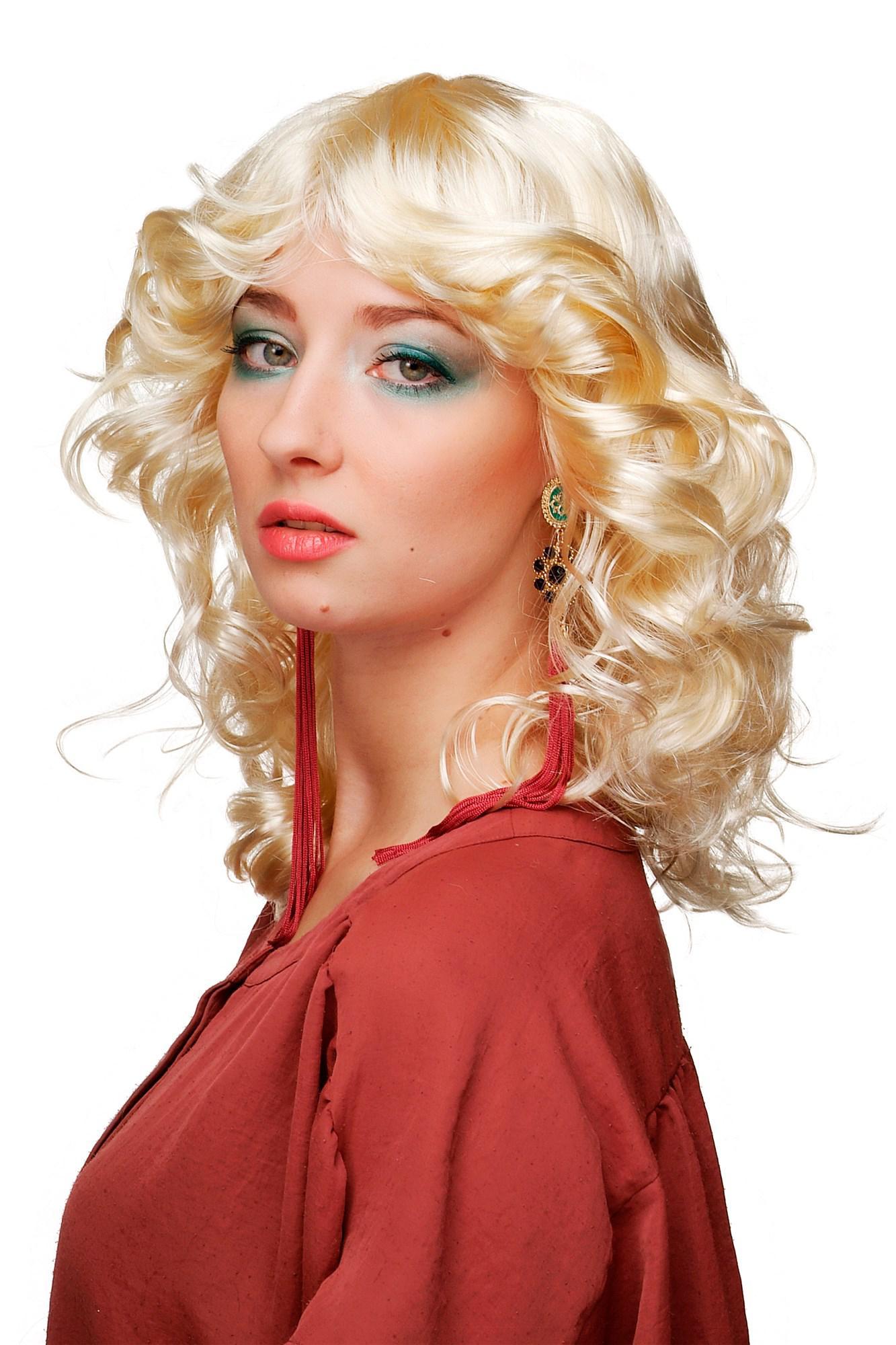Perücke blond Hellblond Diva star 70er 80er Jahre Fönfrisur