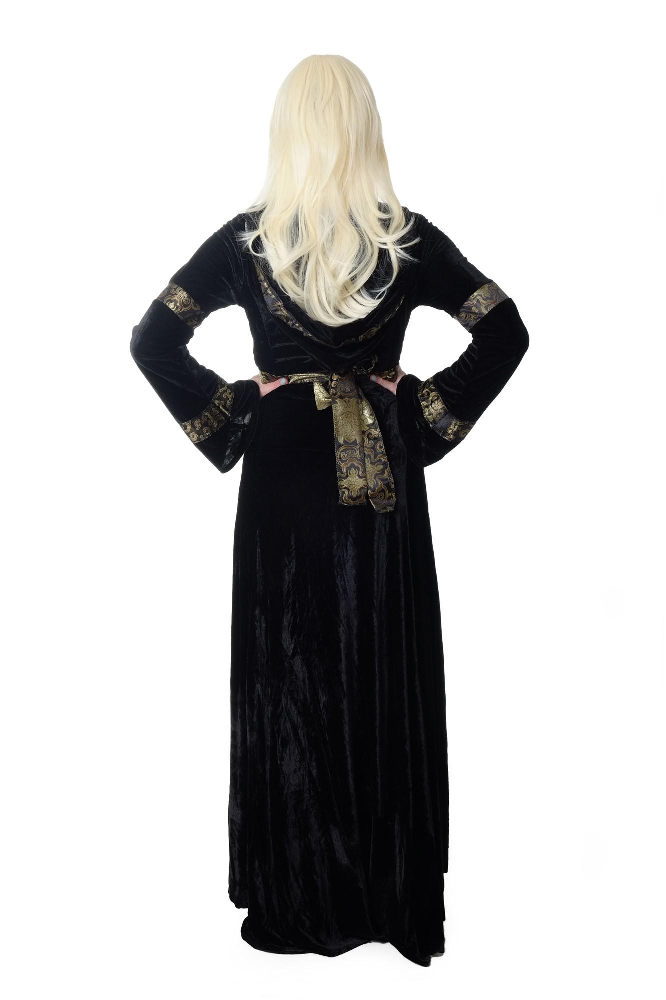 edles aufwändiges damen kostüm schwarz lang kleid elfe märchen mittelalter  k50