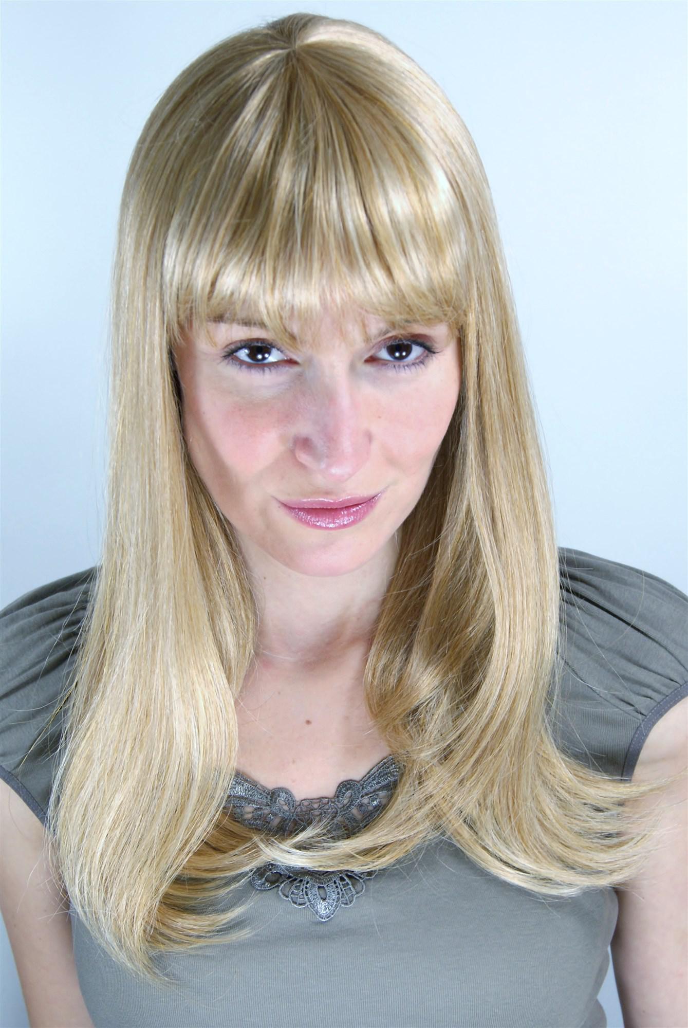 Blonde Glatte Lange Perucke Mit Kurzem Geradem Pony Haarschnitt 6310 611b 50 Cm