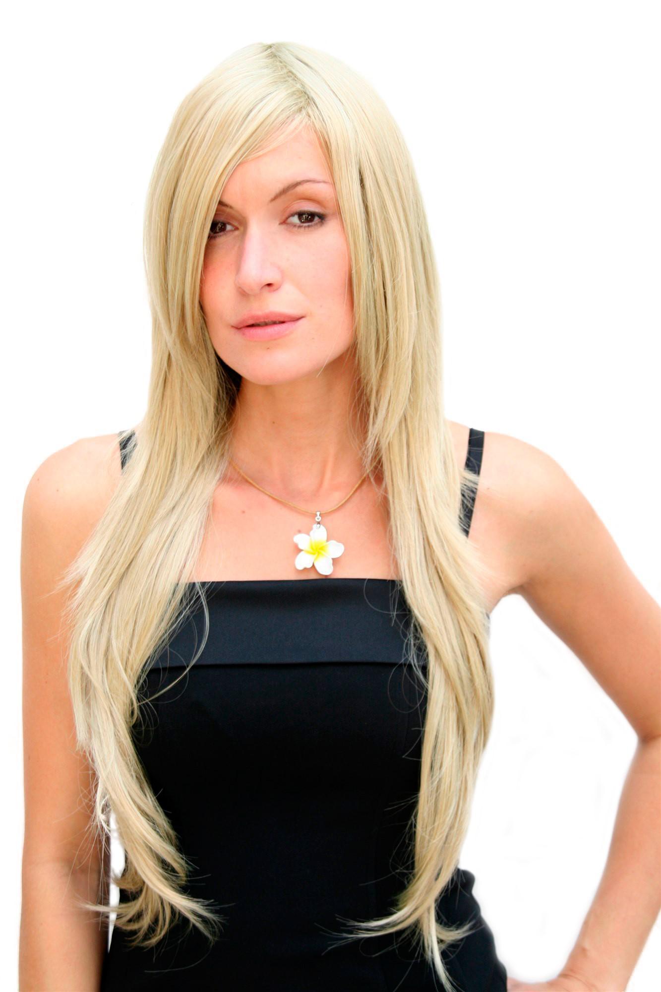 Sexy Perucke Blond Hellblonde Haare Sehr Lange Glatte Frisur Wig 75