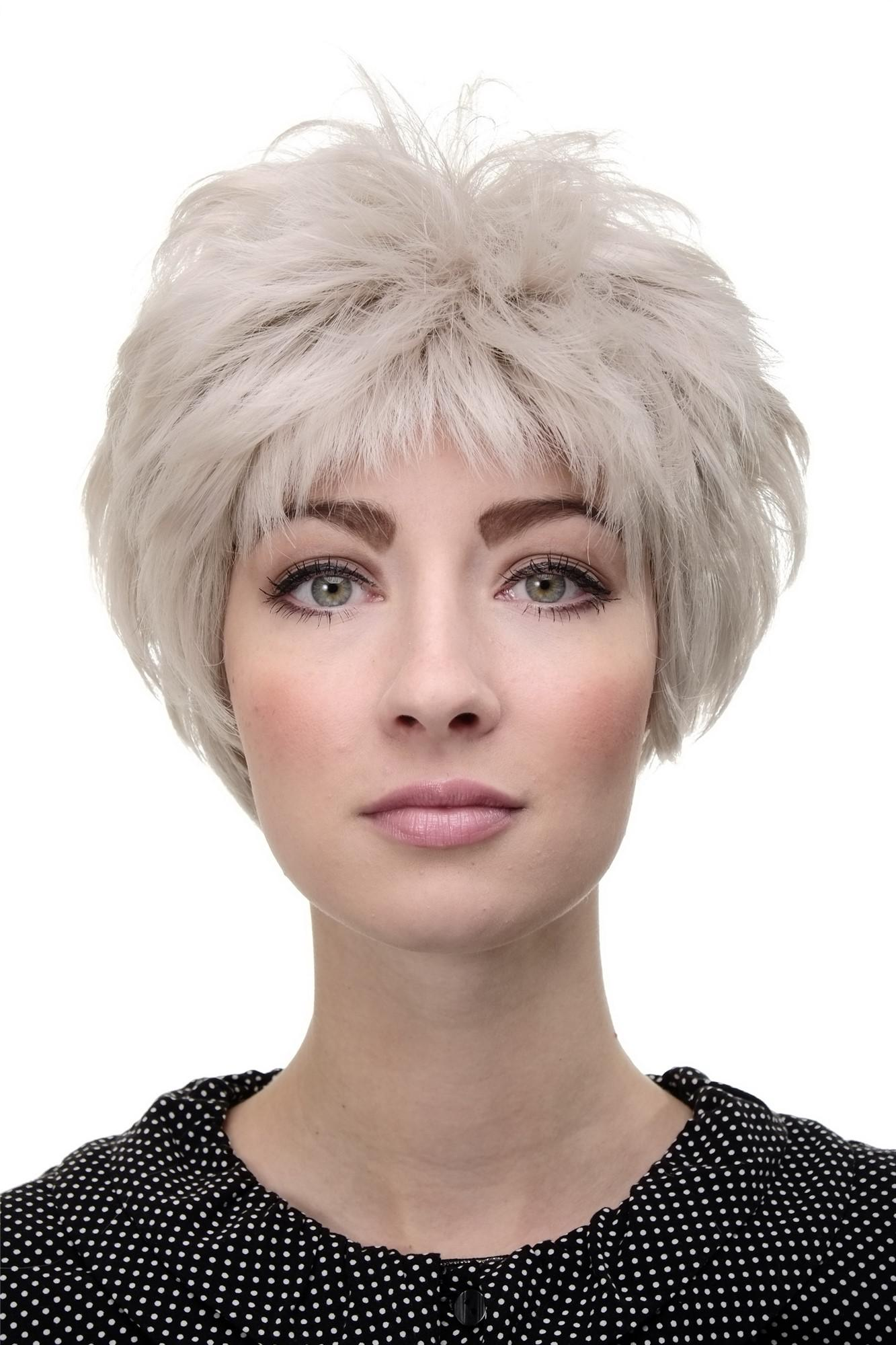 Damenperucke Perucke Grau Silbergrau Kurz Igel Frisur Reife Dame Wig