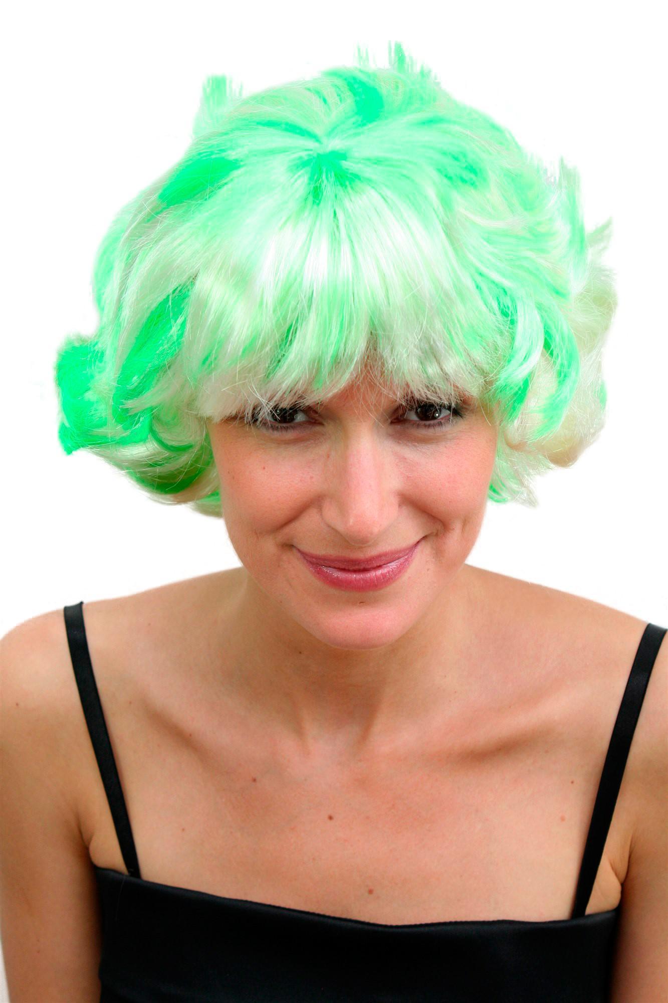 Perucke Fasching Knallig Neon Grun Blond Platin Bunt Kess Frech