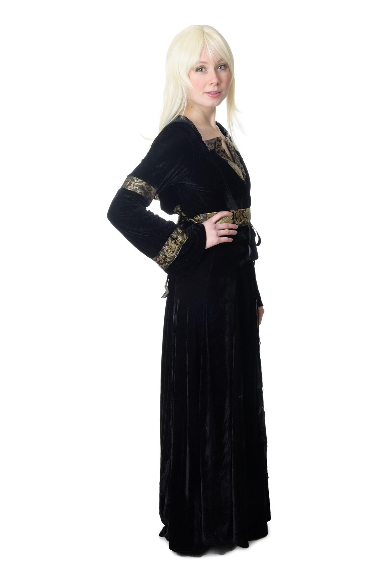 Edles aufwändiges Damen Kostüm schwarz lang Kleid Elfe ...