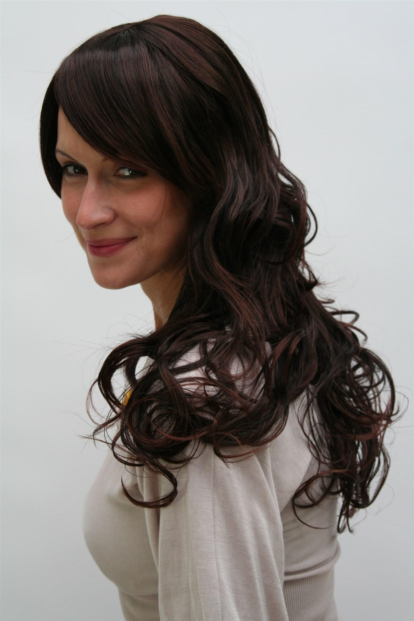 Dunkelbraune Damenperrücke Wig Braun Gewelltes Haar Lang 65 Cm 9329 2t33