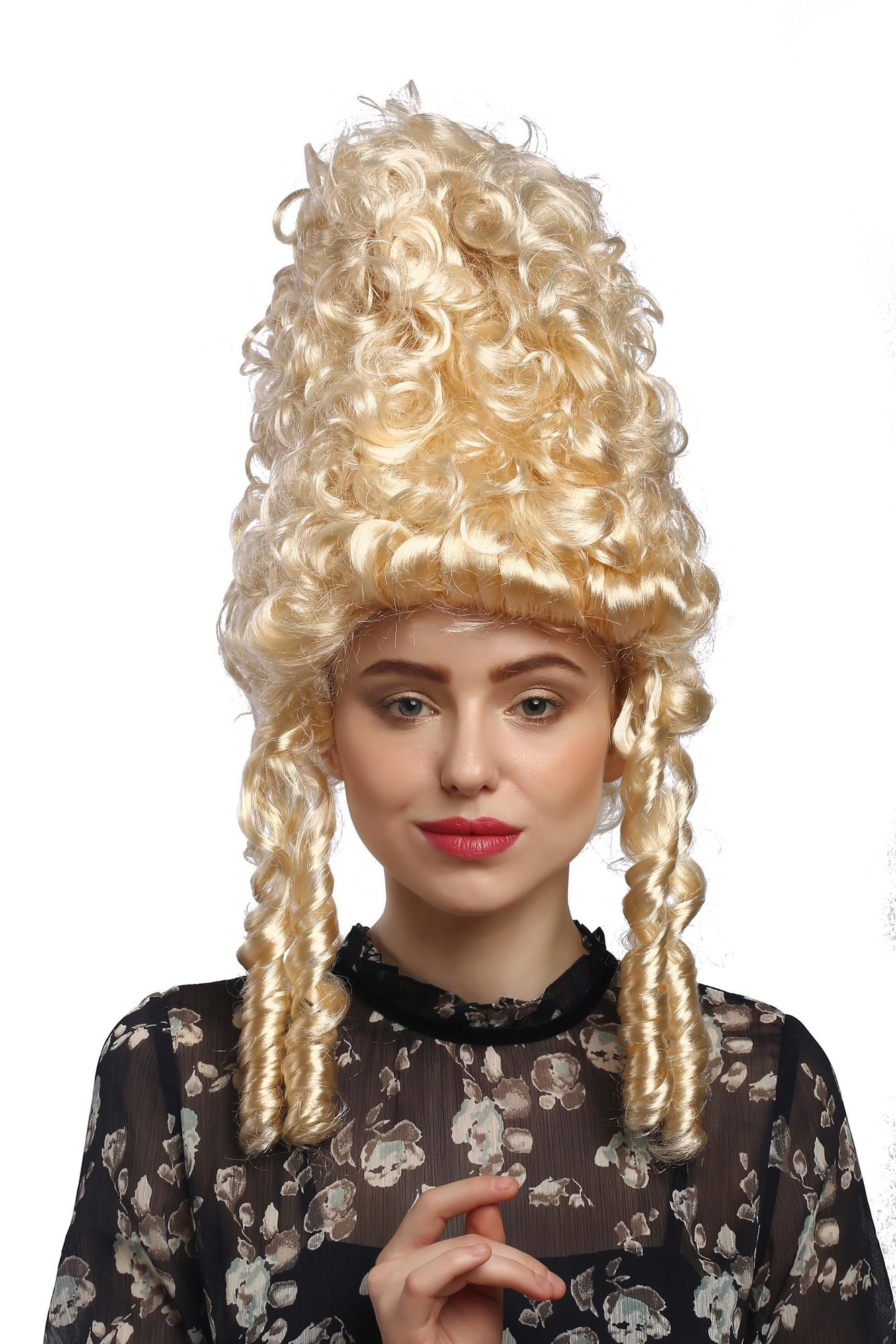 Perucke Damen Karneval Historisch Barock Blond Marie Antoinette Turmfrisur
