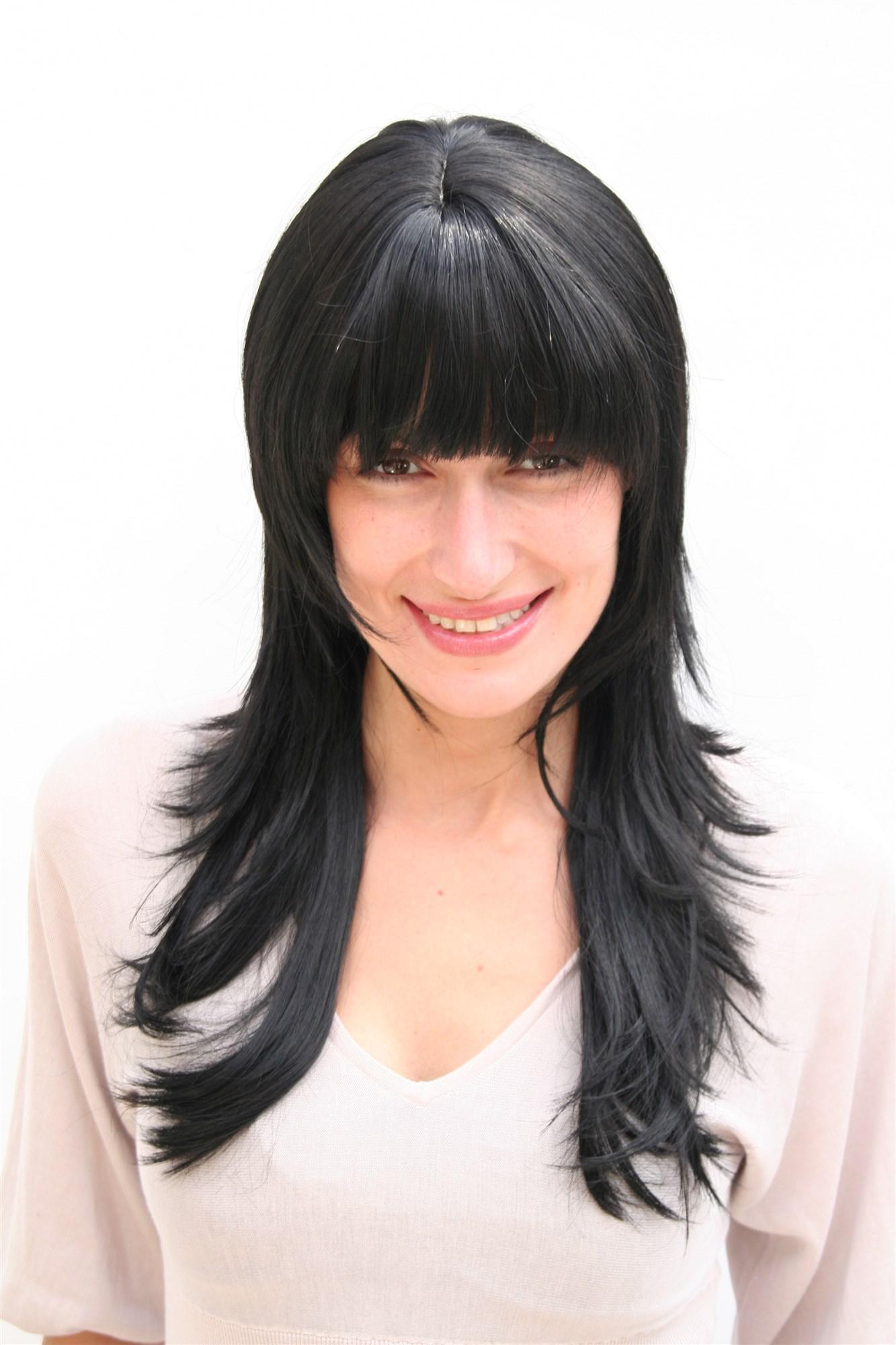 damenperücke, wig, schwarz, lang, gestuftes haar, haarersatz, ca.55