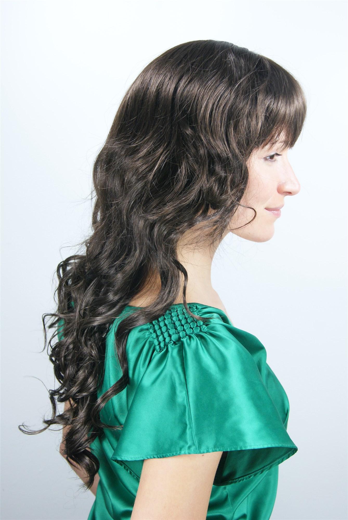 Damenperücke braun gestuft lockig Pony Frisur Haarersatz ...